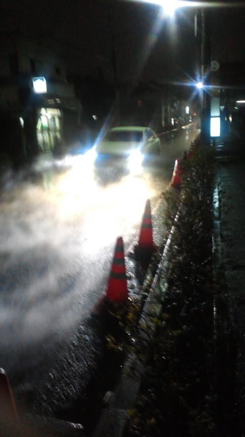 江古田通りで湯気がもうもう